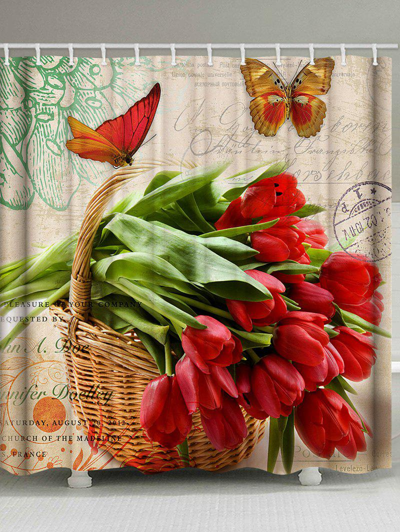 Flowers and Butterfly Print Waterproof Shower Curtain - multicolor W71 INCH * L71 INCH