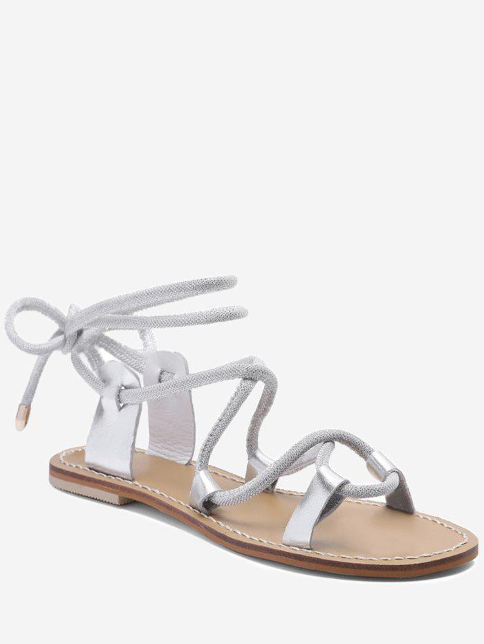 Lace Up Ankle Wraped Leisure Sandals - SILVER 38