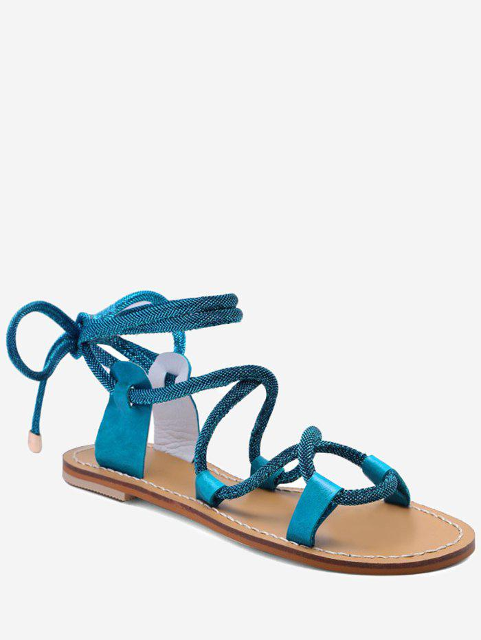 Lace Up Ankle Wraped Leisure Sandals - BLUE IVY 39