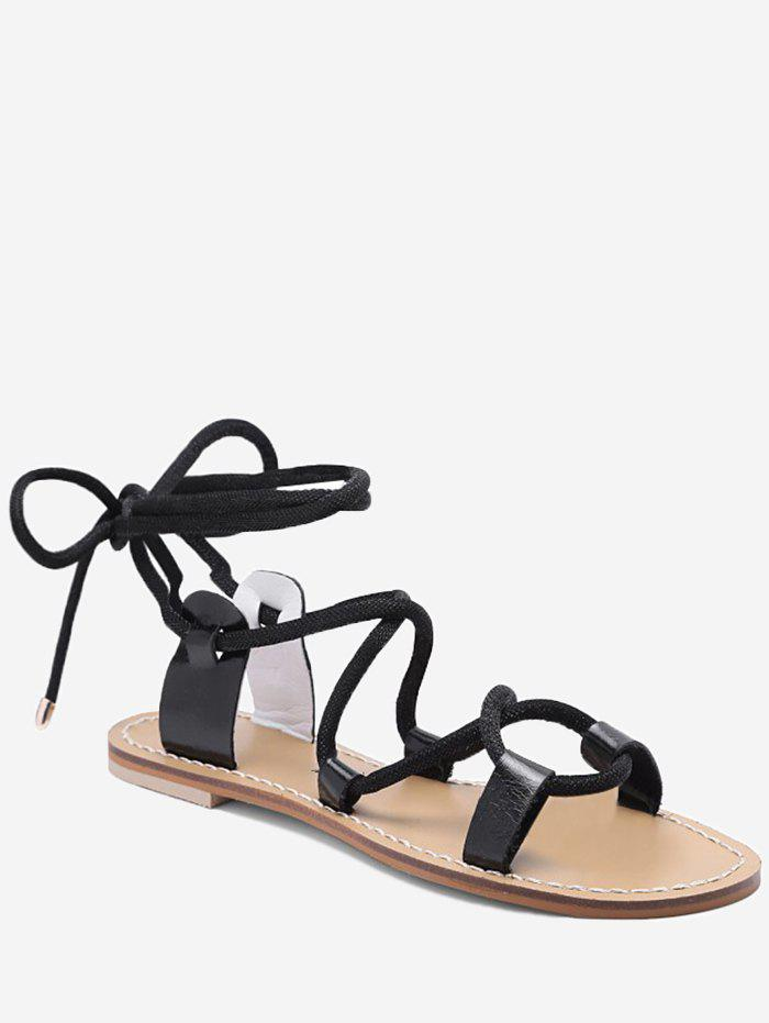 Lace Up Ankle Wraped Leisure Sandals - BLACK 39