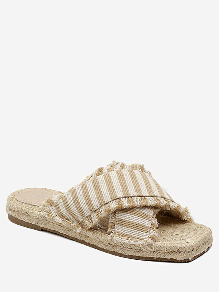 Striped Straw Leisure Slippers - APRICOT 38