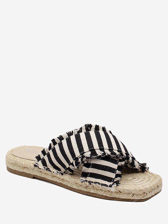 Striped Straw Leisure Slippers - BLACK 36