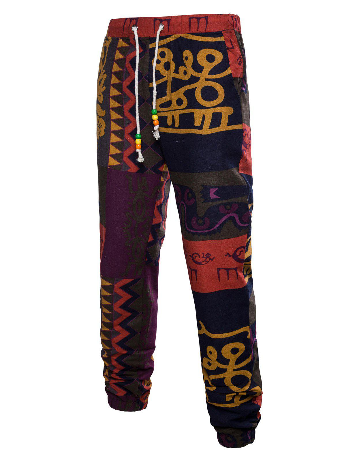 Ethnic Wall Gecko Print Drawstring Jogger Pants rover time rt 255