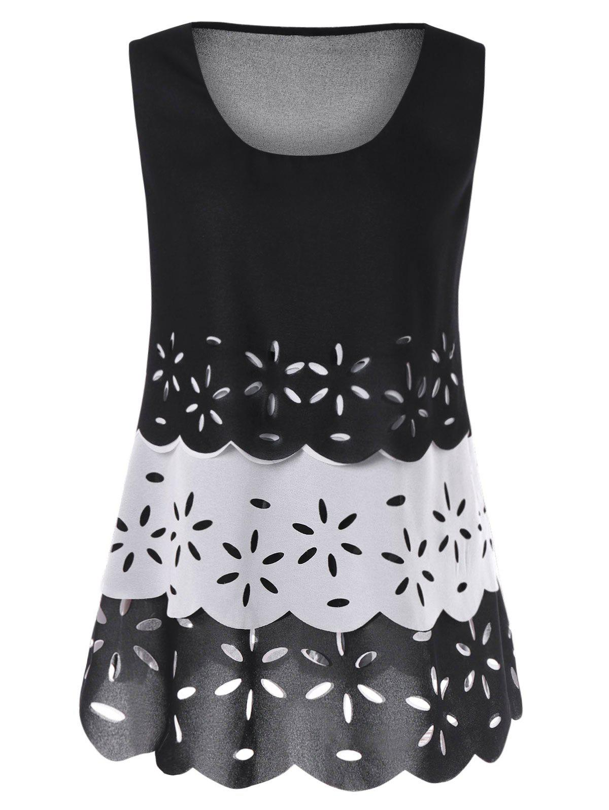 Floral Cut Out Trapeze Tank Top cut out lace floral tank top