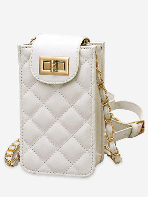 Casual Cellphone Flap Quilted Crossbody Bag - WHITE