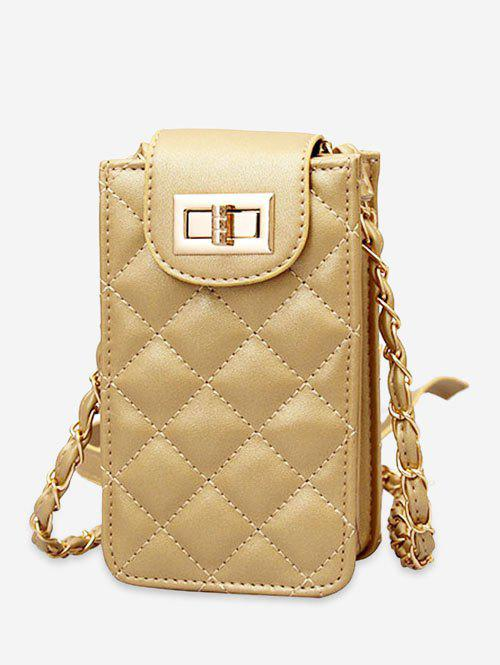 Casual Cellphone Flap Quilted Crossbody Bag - GOLD