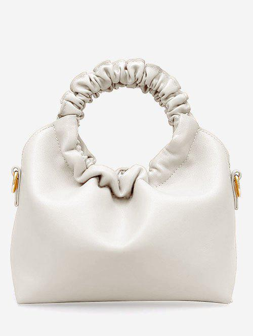 PU Leather Ruffle Hand Bag - WHITE
