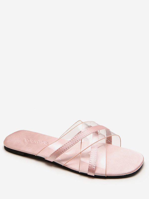 Crisscross Jelly Transparent Slides for Beach - LIGHT PINK 35