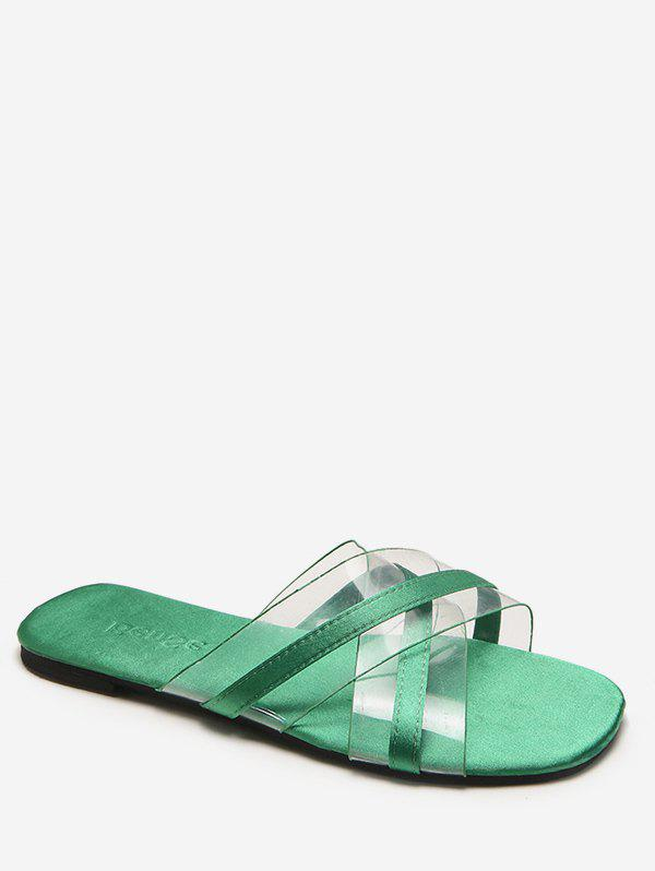 Crisscross Jelly Transparent Slides for Beach - GREEN 37