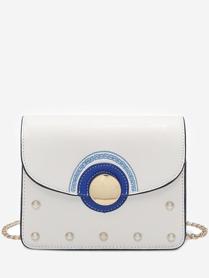 Minimalist Flapped Color Block Crossbody Bag - WHITE