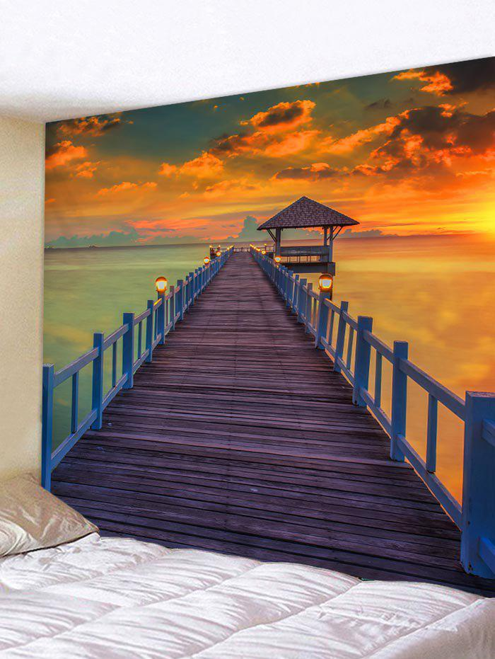 Sunset Ocean Bridge Print Tapestry Wall Art - multicolor W71 INCH * L71 INCH