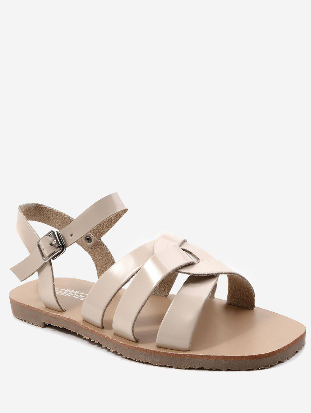Leisure Vacation Cross Flat Heel Sandals - APRICOT 40