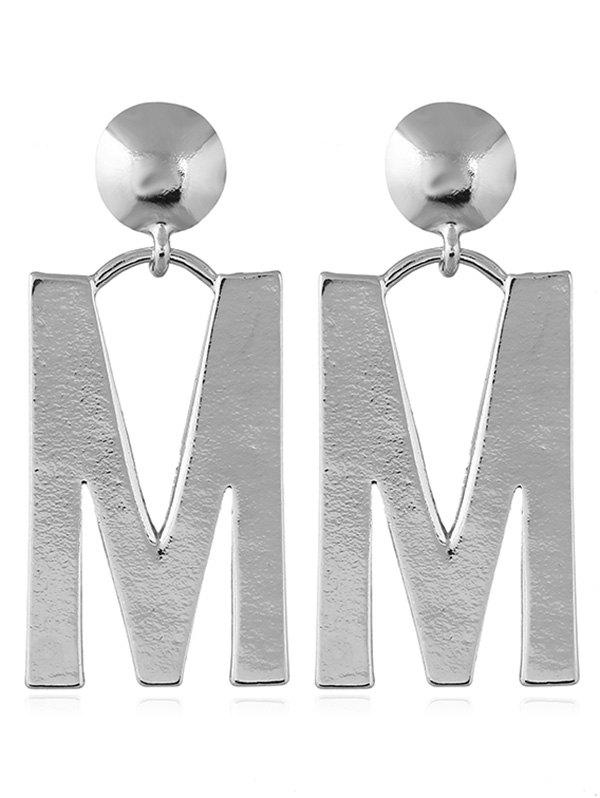 Letter M Design Stud Dangle Earrings - SILVER