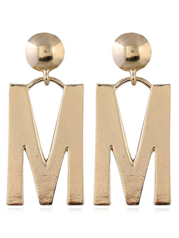 Letter M Design Stud Dangle Earrings - GOLD