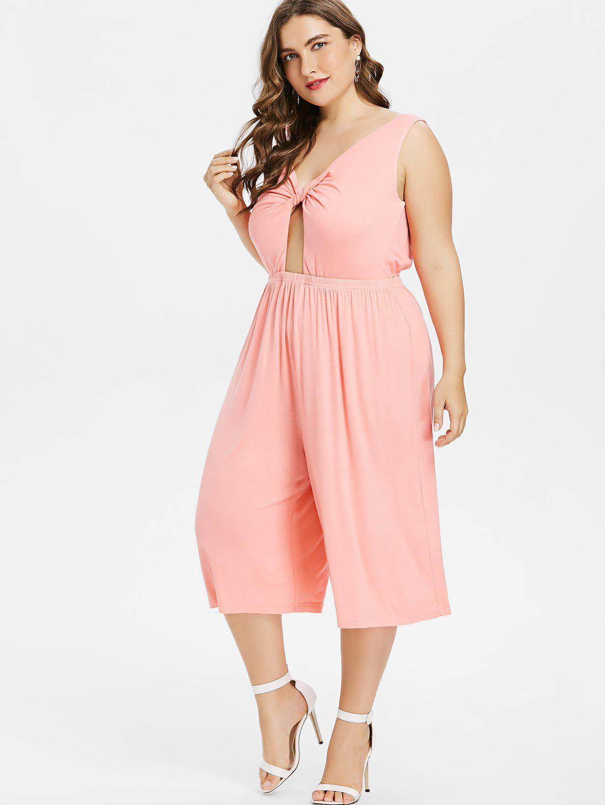 Twist Plus Size Wide Leg Jumpsuit - PINK BUBBLEGUM 4X