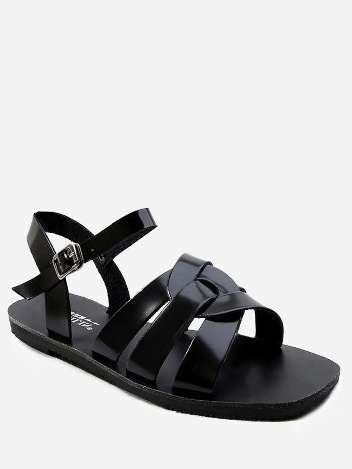 Leisure Vacation Cross Flat Heel Sandals - BLACK 40
