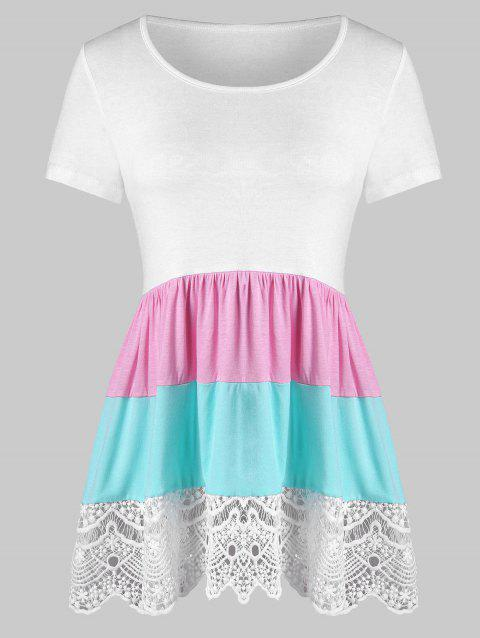 Color Block Lace Insert Flounce Tee - WHITE XL