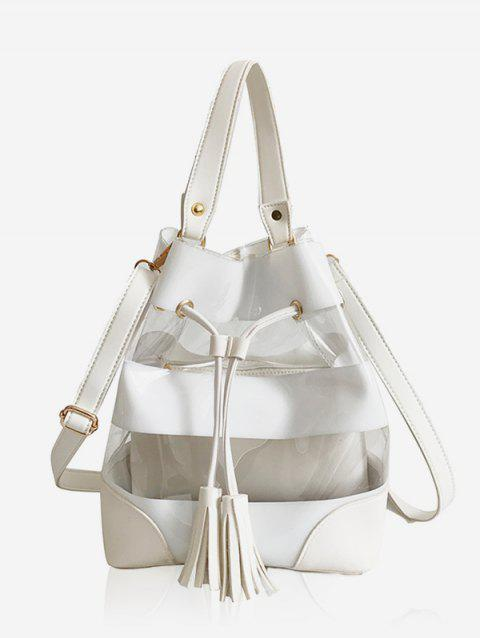 2 Pieces Transparent Crossbody Bag - WHITE