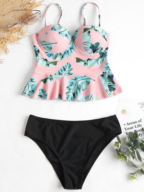 25a8a6ee2e26b 17% OFF] 2019 Push Up Leaves Print Peplum Tankini In LIGHT PINK S ...