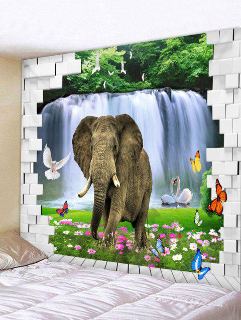 Elephant in Brick Wall Printed Wall Tapestry Art - multicolor W91 INCH * L71 INCH