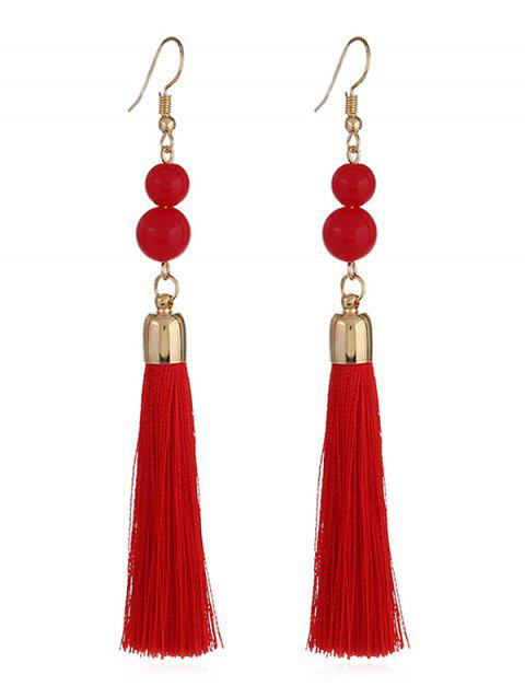 Beads Hanging Tassel Dangle Earrings - RED