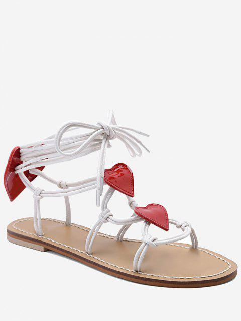 Heart Detail Rope Wrapped Flat Sandals - WHITE 36