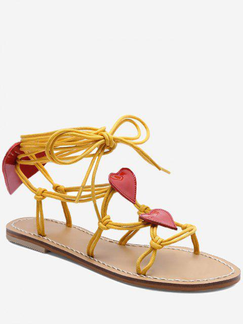 Heart Detail Rope Wrapped Flat Sandals - BRIGHT YELLOW 35