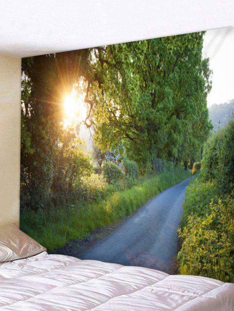 Sunlight Forest Path Print Tapestry Wall Art - SPRING GREEN W79 INCH * L71 INCH