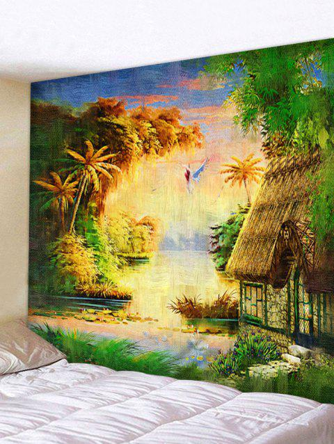 Forest Thatching Print Tapestry Wall Art - multicolor W91 INCH * L71 INCH