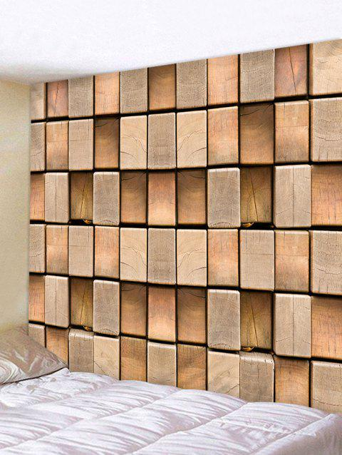 3D Cube Wood Print Tapestry Wall Hanging Decor - PUCE W79 INCH * L59 INCH