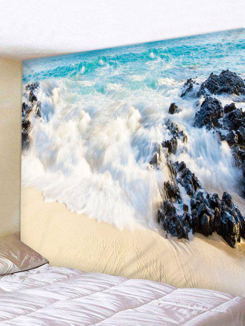 Beach Sea Spoondrift Print Wall Hanging Tapestry - BABY BLUE W59 INCH * L51 INCH