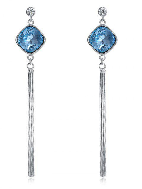 Elegant Rhinestone Faux Gem Inlaid Fringed Earrings - BLUE KOI