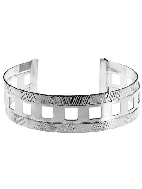 Striped Geomteries Neck Choker Cuff Collar Necklace for Club Party - SILVER