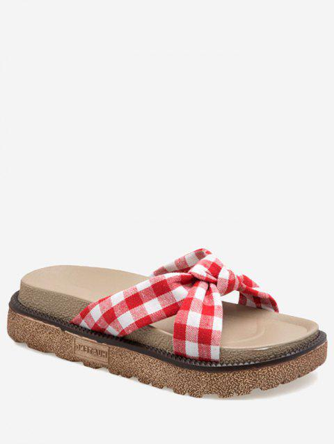 Casual Bow Crisscross Plaid Platform Slides - RED 39