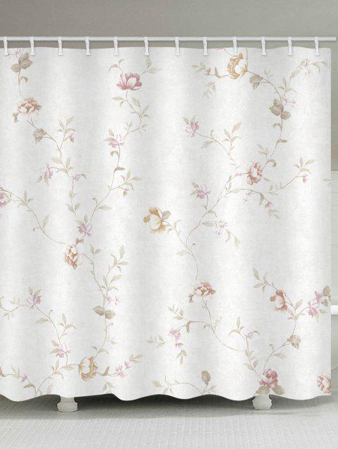 Floral Branch Print Waterproof Shower Curtain - WHITE W71 INCH * L71 INCH