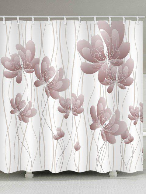 Butterfly Flowers Print Waterproof Shower Curtain - WHITE W59 INCH * L71 INCH