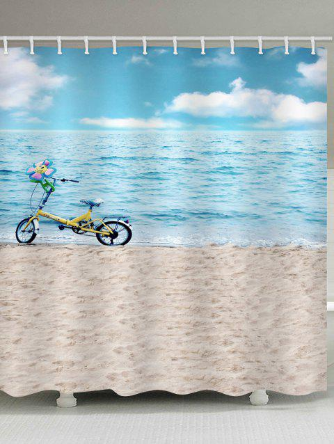 Sea-side Beach Scenery Bicycle Printed Waterproof Bath Curtain - multicolor W71 INCH * L71 INCH