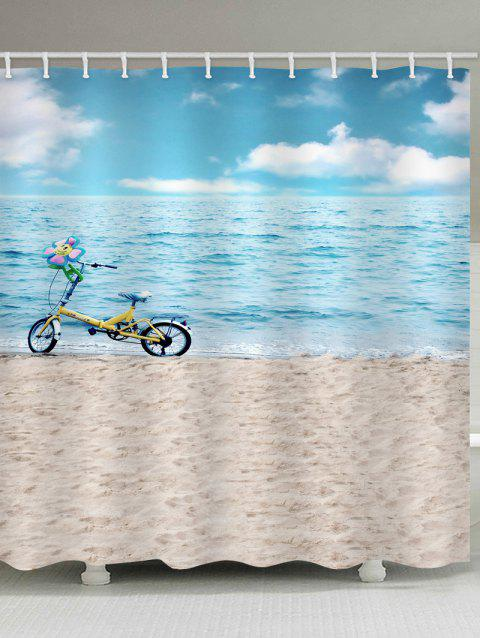 Sea-side Beach Scenery Bicycle Printed Waterproof Bath Curtain - multicolor W71 INCH * L79 INCH