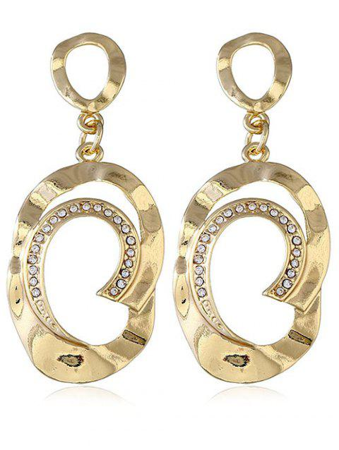 Artificial Diamond Hanging Hoop Earrings - GOLD