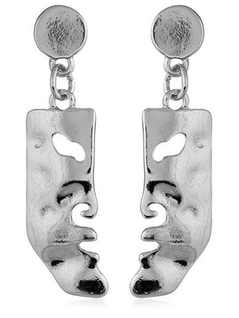Face Shaped Solid Hanging Earrings - SILVER