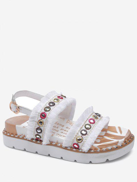 Color Block Eyelets Frayed Edge Buckle Strap Sandals - WHITE 40