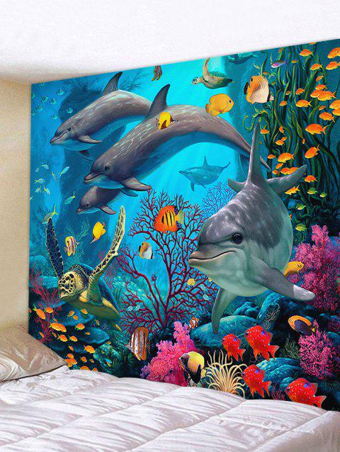 3D Dolphin Coral Reef Print Wall Decor Tapestry - OCEAN BLUE W59 INCH * L59 INCH