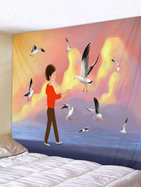 Seagull Inbetweening Tapestry Wall Hanging Home Decoration - multicolor W91 INCH * L71 INCH