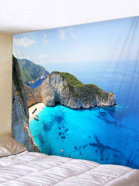 Mountain Top Sea Print Tapestry Wall Hanging Decor - OCEAN BLUE W79 INCH * L59 INCH