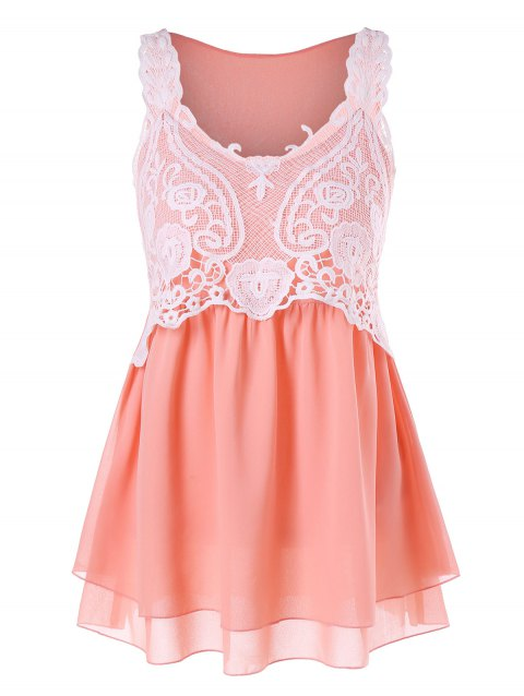 Lace Overlap Chiffon Peplum Tank Top - ORANGE PINK XL