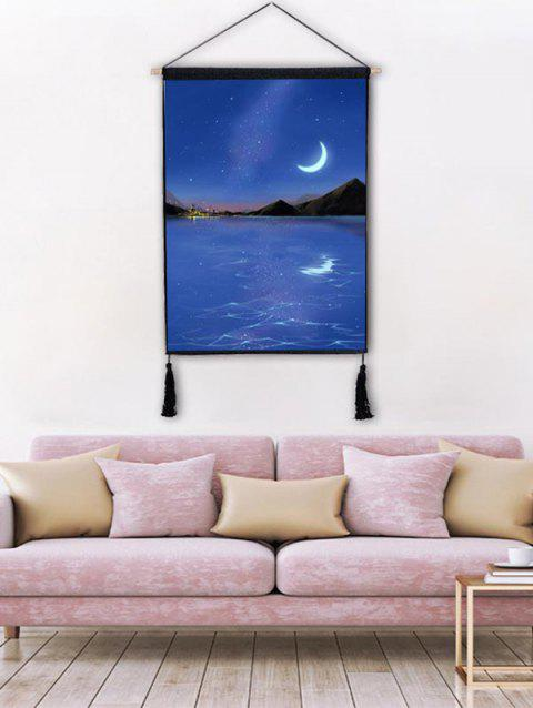 Swell Moon Light Scenery Print Wall Decor Tassel Hanging Painting Andrewgaddart Wooden Chair Designs For Living Room Andrewgaddartcom