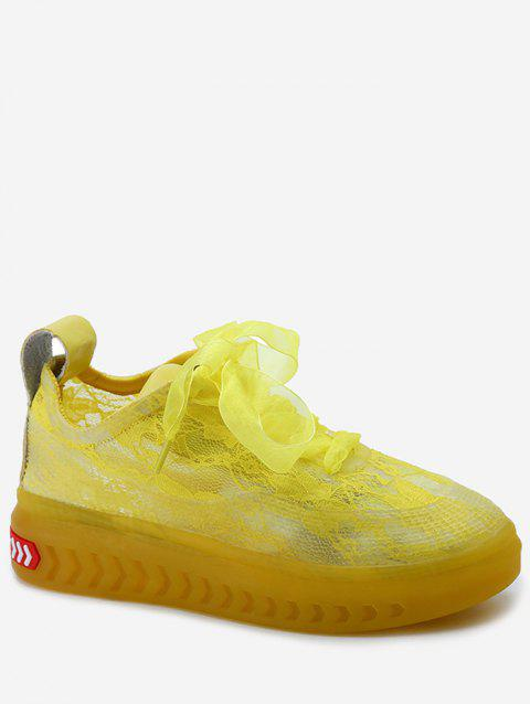 Lace Breathable Low Heel Skate Shoes - YELLOW 37