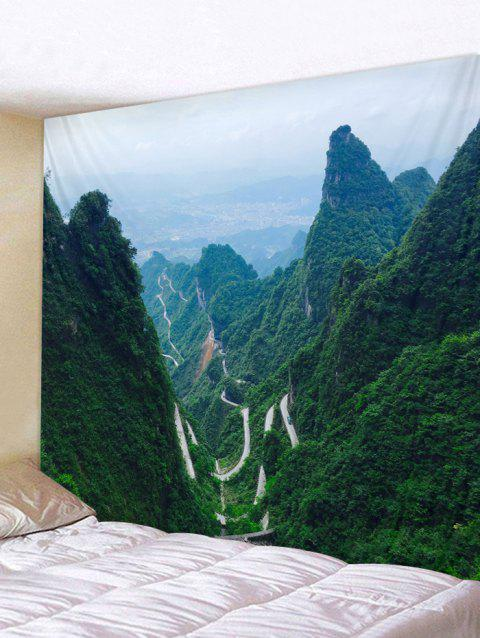 Mountains Print Tapestry Wall Hanging Decor - DARK FOREST GREEN W91 INCH * L71 INCH