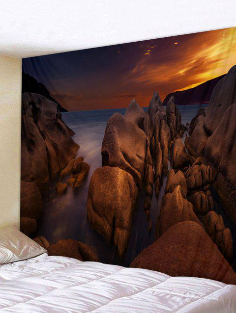Sea Rock Sunset Printed Tapestry Wall Hanging Decoration - DEEP BROWN W79 INCH * L71 INCH