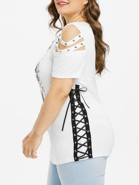 aa6b857ccab5e LIMITED OFFER  2019 Plus Size Rivet Lace Up T-shirt In WHITE 2X ...
